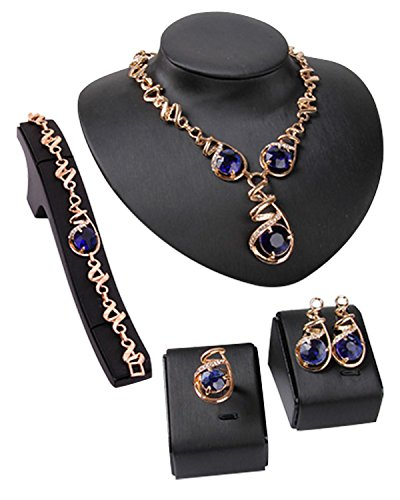 Young & Forever Elite Mesmerizing Prom Wedding Overgild Gold Plated Blue Crystal Jewelry Sets Necklace Earrings Bracelet Ring Set for Women / Girls stylish party wear N670 by Young & Forever