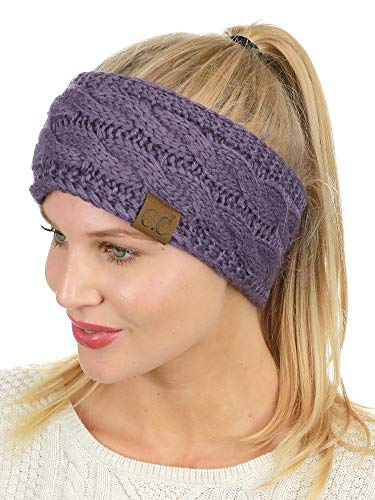 - C.C Soft Stretch Winter Warm Cable Knit Fuzzy Lined Ear Warmer Headband, Violet
