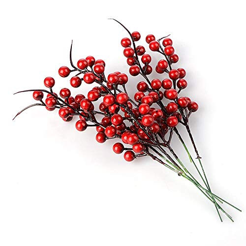 Keebgyy Artificial Red Berries, 10 Pcs Artificial Red Berry Stems Xmas Tree Decorations for Festival Holiday and Home Decor ()