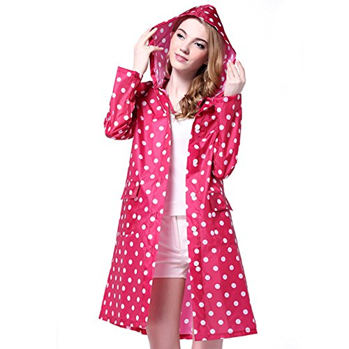 ezyoutdoor Women's Portable Long Design Wave Dot Hooded Raincoat Waterproof Packable Rain Jacket Poncho with Carry Pouch,One Size Fit Most (Pink)