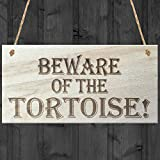 Red Ocean Beware Of The Tortoise Novelty Wooden Hanging Shabby Chic Plaque Gift by Red Ocean
