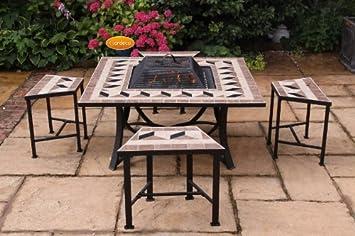 Salon de Jardin avec insert - Foyer Braséro Boule de Feu / Barbecue ...