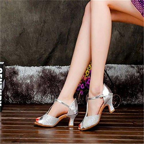 Shoes Peep Chunky Ballroom Women's Toe Silver Pumps Buckles W083 Heel Shoes Shoesland Cwqt4UxvnU
