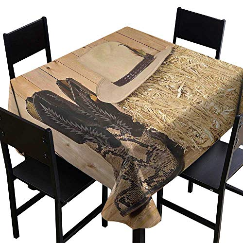 Warm Family Western Decor Fabric Dust-Proof Table Cover Snake Skin Cowboy Boots Timber Planks in Barn with Hay Old West Austin Texas Runners,Gatsby Wedding,Glam Wedding Decor,Vintage Weddings -