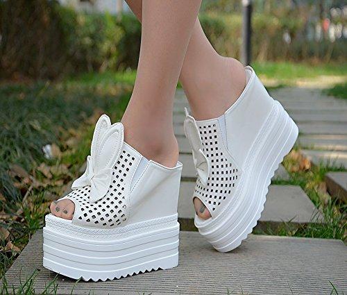 fondo pendiente 13 XiaoGao grueso zapatillas verano y de nuevo Blanco El centímetros vaciado en IUwqaEw