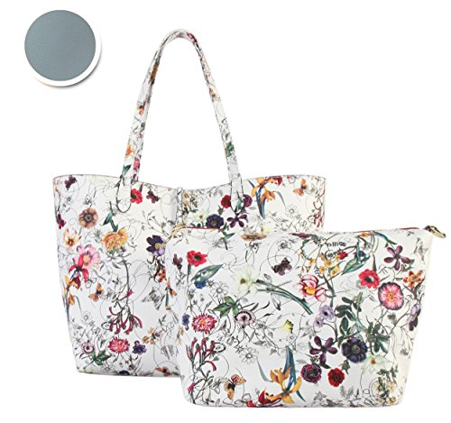 White Floral Tote (Diophy PU Leather Colorful Floral Pattern Two Tone Reversible Large Tote Womens Purse Handbag with Matching Crossbody Bag 2 Pieces Set FL-6000 FL-6001 (White exterior-Blue interior))
