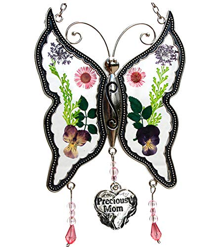 - Precious Mom New Butterfly Suncatchers Glass Mother Wind Chime with Pressed Flower Wings Embedded in Glass with Metal Trim Mom Heart Charm - Gifts for Mom -Mom for Birthdays Christmas