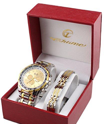 Herren-Armbanduhr, Farbe: Gold und Panzerketten-Armband aus Edelstahl
