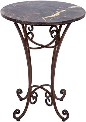 Deco 79 Metal Mrbl Accent Talbe, 21 by 21 by 27-Inch, Brown