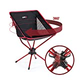 Compaclite Patented 360 Rotating Ultra-Light Duralumin Swivel Mesh Chair for Backpacking/Camping / Hiking/Fishing / BBQ/Beach with Carry Bag, Black