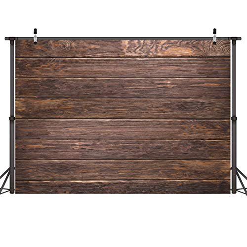 (CYLYH 7x5ft Thin Vinyl Brown Wood Backdrop Photographers Retro Wood Wall Background Cloth D112)