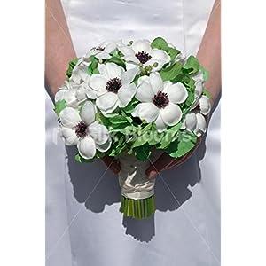 Green Hydrangea & White Fresh Touch Anemone Bridal Bouquet 73