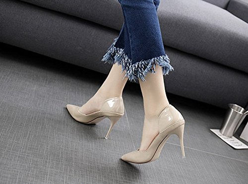 36 MDRW Hollow Spring Fashion Shoes Work Elegant High With Lady 9Cm Heels Leather Shallow Sexy Mouth Fine Leisure Simple Beige Shoes q6rqwRyA