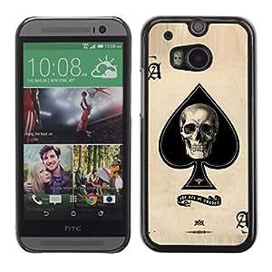 Shell-Star Arte & diseño plástico duro Fundas Cover Cubre Hard Case Cover para HTC One M8 ( Ace Skull Poker Gambling Cards Las Vegas )