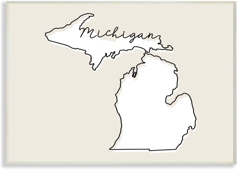 Stupell Industries Michigan Home State Map Neutral Print Design Wall Plaque, 12 x 18, Multi-Color