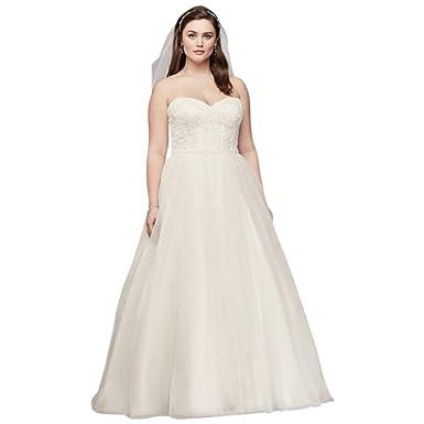 David\'s Bridal Soft Tulle Lace Corset Plus Size Wedding Dress Style ...