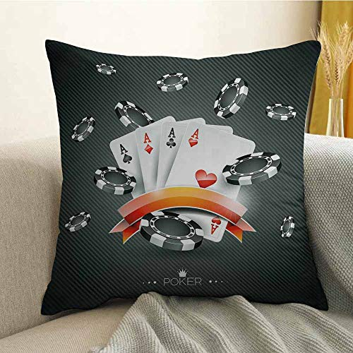 FreeKite Poker Tournament Decorations Bedding Soft Pillowcase Artistic Display Spread Chips with Poker Cards Lifestyle Hypoallergenic Pillowcase W16 x L16 Inch Black White Red ()
