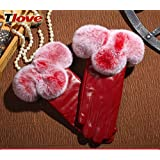 Leather Gloves Women's Winter Plus Velvet Thick Short Gloves, Ladies Gloves to Keep Warm in Autumn and Winter
