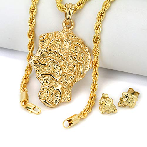 - Jewel Town Gold Plated 14k Hip Hop Chip Nugget Cut Back Butterfly Earrings & Pendant Rope Chain 24