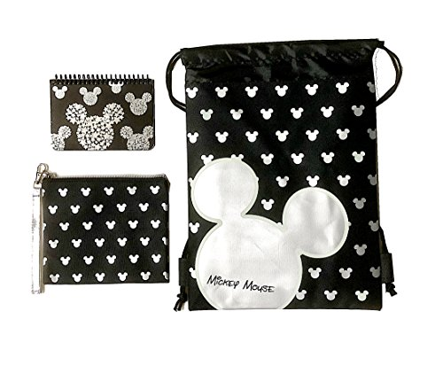 Emerald Disney Mickey Mouse Glow in the Dark Drawstring Backpack Plus Autograph Book with Purse - Set of 3 Silver (Star Head)