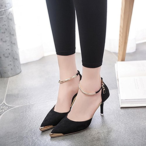 Transer Strap Nude Shallow Mouth High Heel Shoes - Elegant Ladies Office Work Shoes - Women Slip On Sandals Style Wedding Shoes Black 3rw5zKXs
