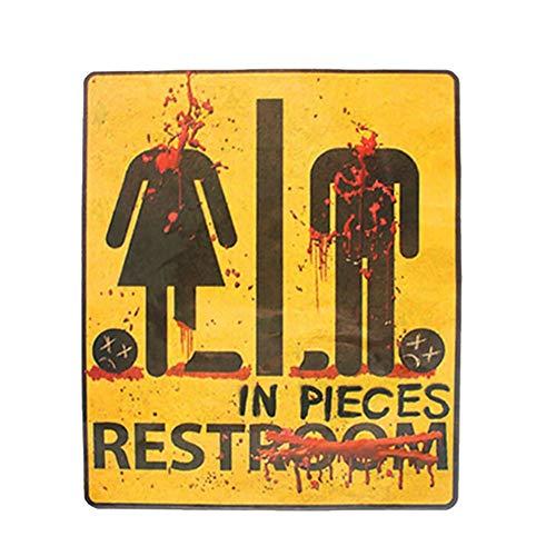 Balai Unisex-Adults Bloody Restroom Bathroom Door Sign - Fancy Halloween Horror Party Decorative Bloody Unrestroom Door Sign Sticker