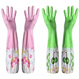 Kitchen Cleaning Gloves,Rubber Latex Cleaning Gloves,Household Cotton Lining Non-Slip Dishwashing Gloves,Reusable Thickening Waterproof Dish Washing Gloves(2 Pair,Red & Green)