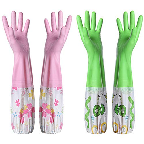Lined Rubber Cotton Gloves - Kitchen Cleaning Gloves,Rubber Latex Cleaning Gloves,Household Cotton Lining Non-Slip Dishwashing Gloves,Reusable Thickening Waterproof Dish Washing Gloves(2 Pair,Red & Green)