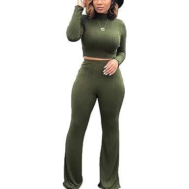 3cb60a2ddbf ECHOINE Women s 2 Piece Outfits Sweater Jumpsuits Long Sleeve Crop Top High  Waist Skinny Pants Set