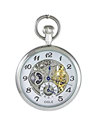 Ogle 3ATM Waterproof Vintage Stainless Steel Silver White Moon Phase Double Time Fob Self Winding Automatic Skeleton Mechanical Pocket Watch Chain Box