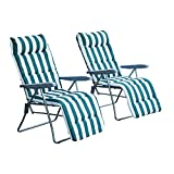Outsunny Set of 2 Garden Patio Outdoor Sun Recliners Loungers Folding Foldable Multi Position Relaxers Chairs with Cushions Fire Retardant Sponge (Green White)