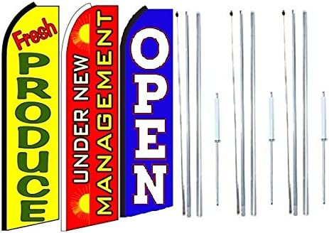 Pack of 3 Fresh Produce Under New Management Open King Swooper Feather Flag Sign Kit with Complete Hybrid Pole Set