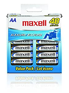 Maxell 723443 Alkaline Battery AA Cell 48-Pack