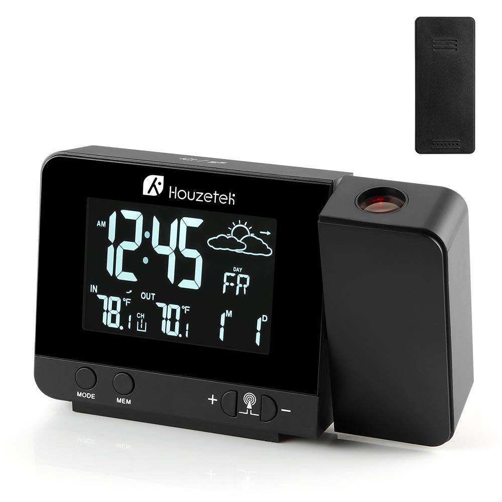 Projection Clock, Digital Projection Alarm Clock with Weather Station, Indoor/Outdoor Thermometer, USB Charger, Dual Alarm Clocks for Bedrooms, LED Display with Dimmer, 12/24 Hours