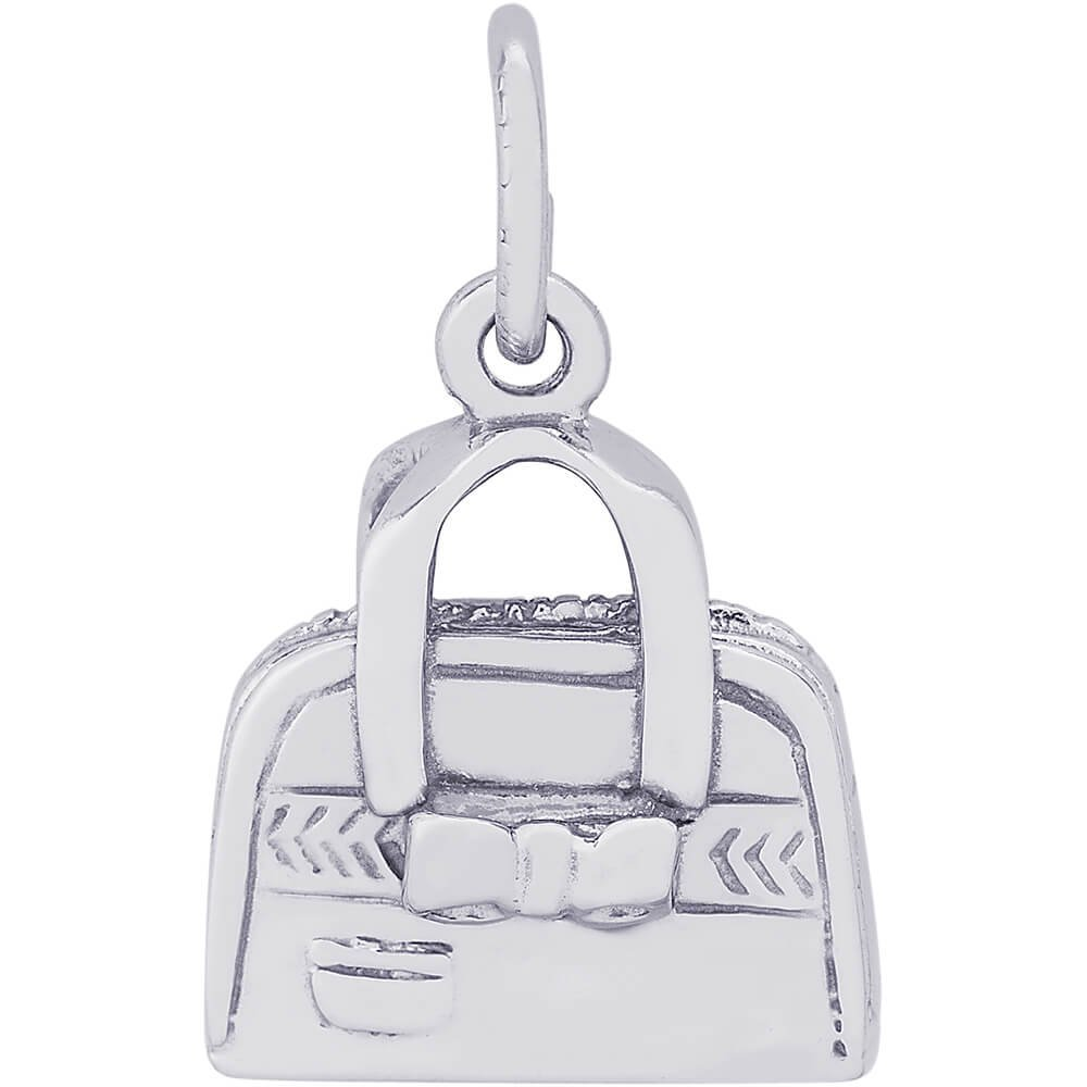 Rembrandt Charms 14K White Gold Hand Bag Purse Charm (0.47 x 0.5 inches)