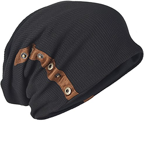 - Men's Slouch Knitted Beanie Hat Crochet Stripe Winter Cap Oversized B318 (B020-Black)