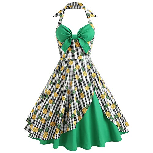 Vogueshop Pin up Pineapple Floral Print Vintage 1950S Sleeveless Halter Neck Swing - Dress Gingham Green