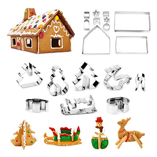 Christmas Cookie Cutters Set - Gingerbread House, Christmas Tree, Deer and Sled DIY Cookies Molds for Holiday,Halloween& Christmas - 18 Pcs Stainless Steel -