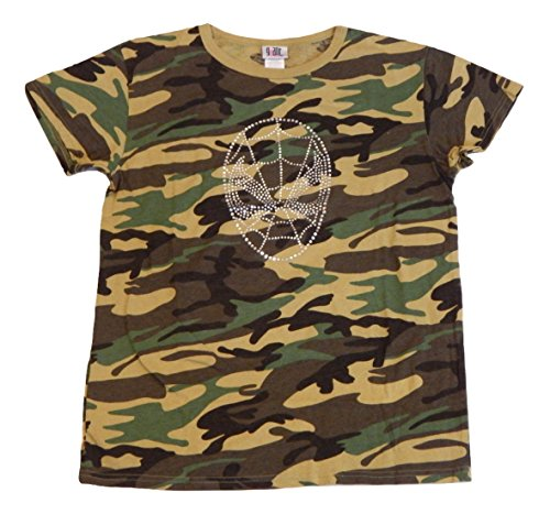 Spiderman Camouflage Rhinestone Women's Junior Fit T-Shirt Tee Shirt Cap Sleeve, Short Sleeve Top (Large)