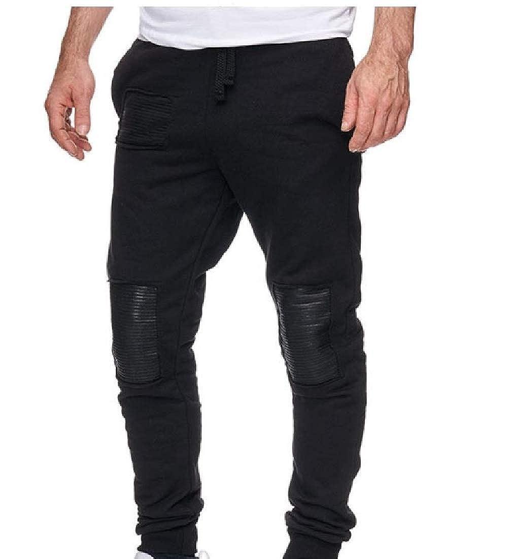 YUNY Mens Hipster Hit Color Plus-Size Trousers Cozy Stitch Pants Black L