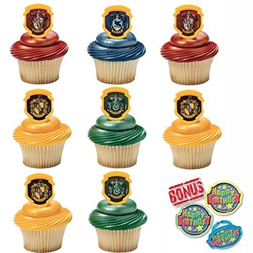 (Harry Potter Hogwarts Houses Cupcake Toppers and Bonus Birthday Ring - 25 pieces)