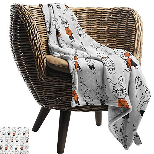 BelleAckerman Soft Cozy Throw Blanket,Funny,Cute Retro Bunny Rabbits with Costumes Jack Hare Funky Bunnies Carrot Sketch Style,Orange White,Couch/Bed,Super Soft and Warm,Durable Throw Blanket 50