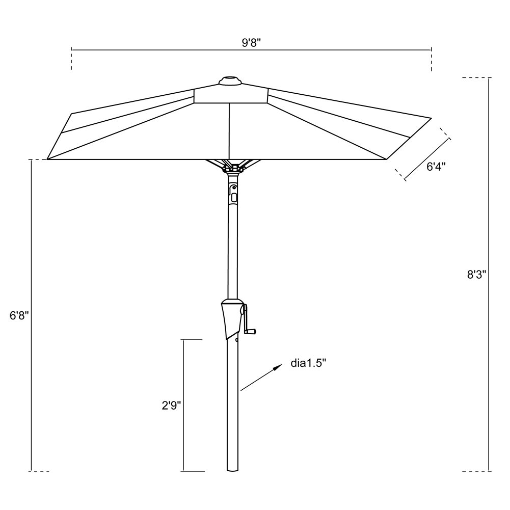 FLAME&SHADE 6ft 6in x 10 ft Rectangular Outdoor Market Patio Umbrella Parasol with Crank Lift, Push Button Tilt, Beige by FLAME&SHADE (Image #8)
