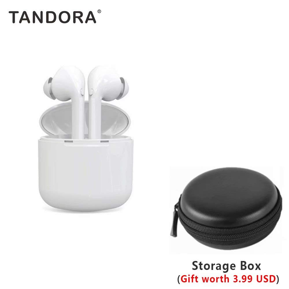 Bluetooth 5.0 Earbuds Earphones Headphones Wireless Noise Cancelling with Microphone Charging Case Cordless Waterproof Touch Control for Workout Running Sport iPhone Android Phones Calls,White