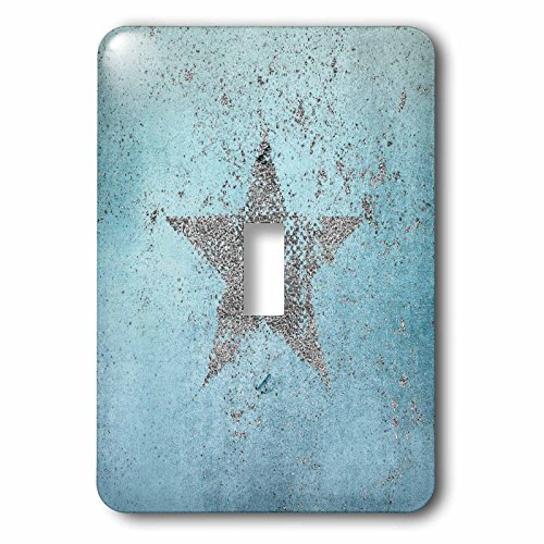 3dRose Andrea Haase Art Illustration - Sparkling Silver Star On Blue - Light Switch Covers - single toggle switch (lsp_282537_1)