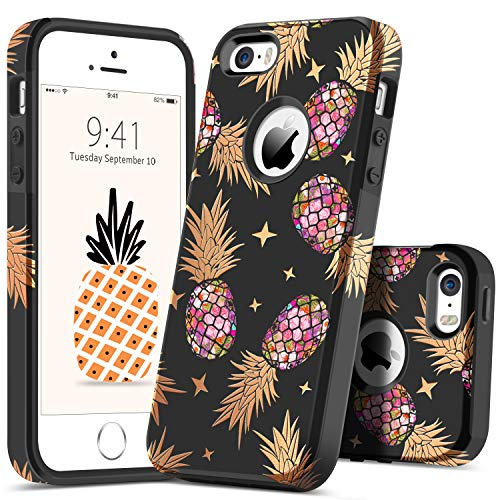 GUAGUA iPhone SE Case iPhone 5S Case iPhone 5 Case Pineapple Slim Hybrid Hard PC Flexible TPU Glossy Cover Shockproof Full Protective Durable Phone Cases for iPhone SE/5S/5,Black
