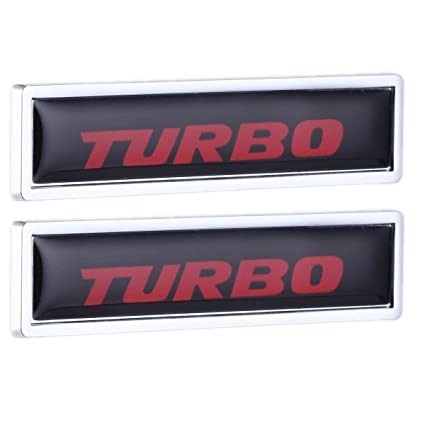 TK-KLZ 2Pcs 3D Metal TURBO Car Side Fender Rear Trunk Emblem Badge Decals for