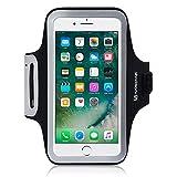 iPhone 8 Plus / iPhone 7 Plus Case, Shocksock iPhone 8 Plus Armband for Sports Gym Bike Cycle Jogging Running Workouts - Reflective Design - Dual Arm-Size Slots - Key Pocket - Black