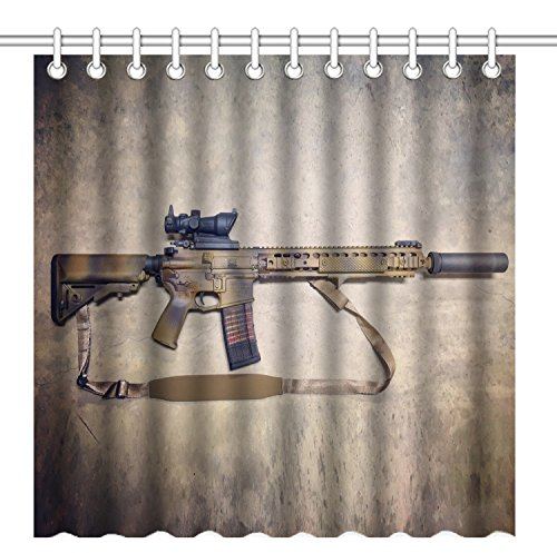 Wknoon 72 x 72 Inch Cool AR-15 Camo Painting Vintage Time Lapse Design Shower Curtain, Waterproof Polyester Fabric Decorative Bath Curtains (Shower Curtain Camouflage)