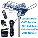 2019UPDATED!150 Miles-Amplified Outdoor TV Antenna-4K/1080p High Reception+40FT RG6 Cable-360°Strong Motor Rotation Wireless Remote